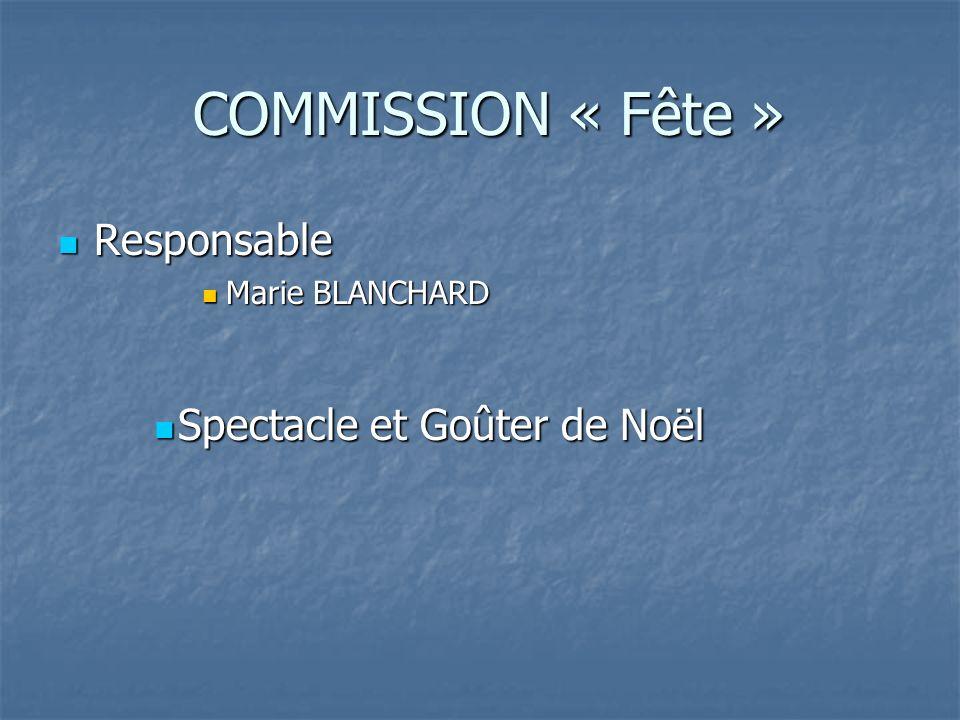 COMMISSION « Fête » Responsable Spectacle et Goûter de Noël