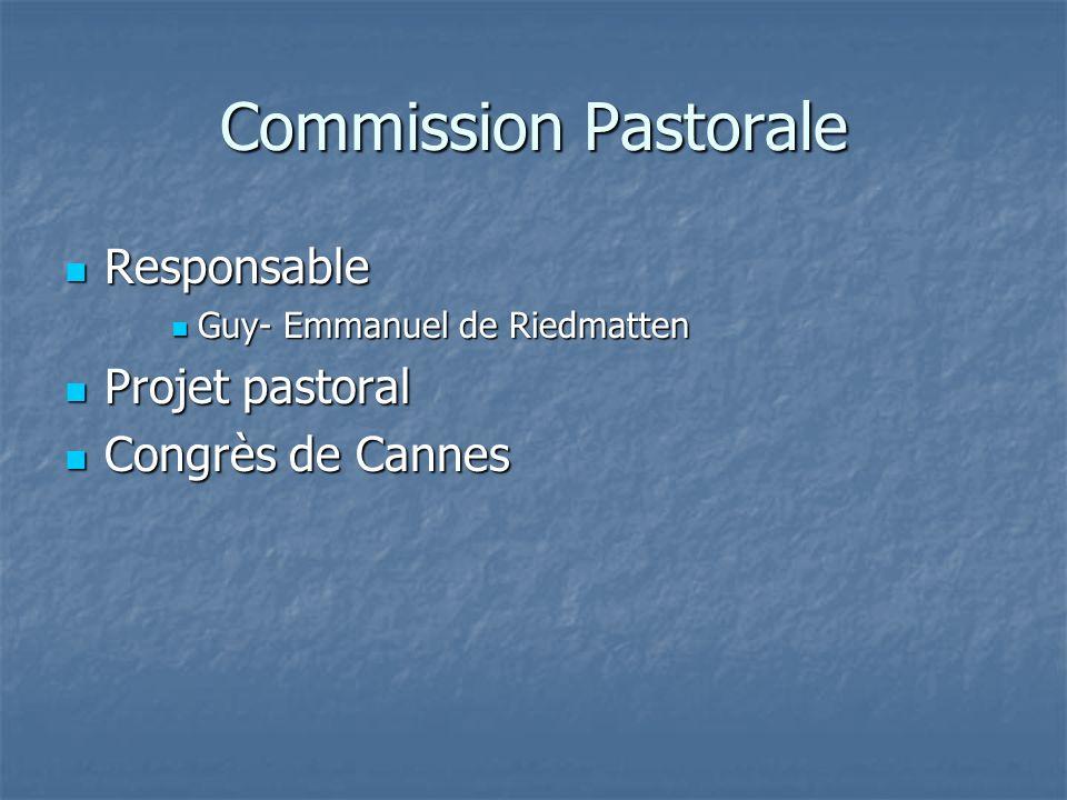 Commission Pastorale Responsable Projet pastoral Congrès de Cannes