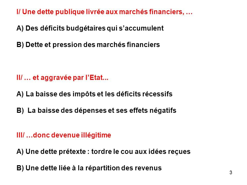 I/ Une dette publique livrée aux marchés financiers, …