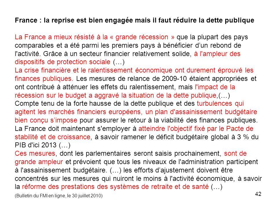 France : la reprise est bien engagée mais il faut réduire la dette publique