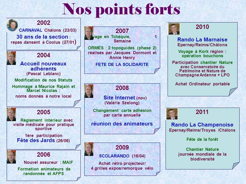Nos points forts 2002. CARNAVAL Châlons (23/03) 30 ans de la section : repas dansant à Coolus (27/01)