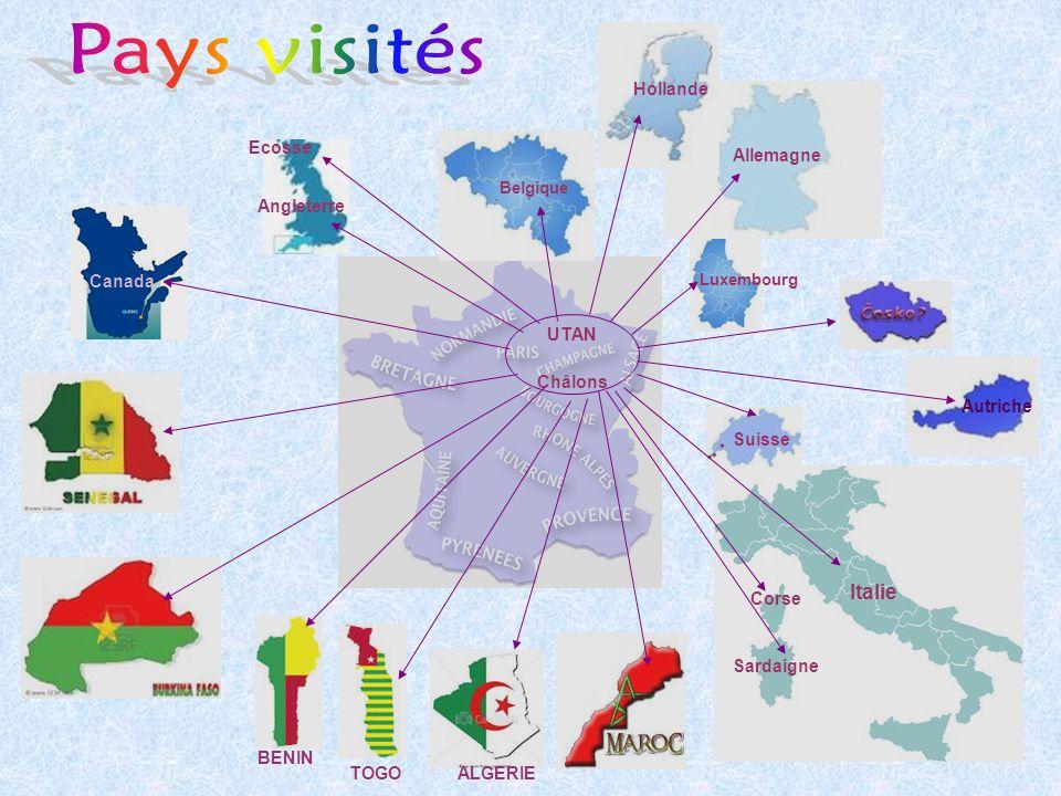 Pays visités Italie Hollande Ecosse Allemagne Angleterre Canada UTAN