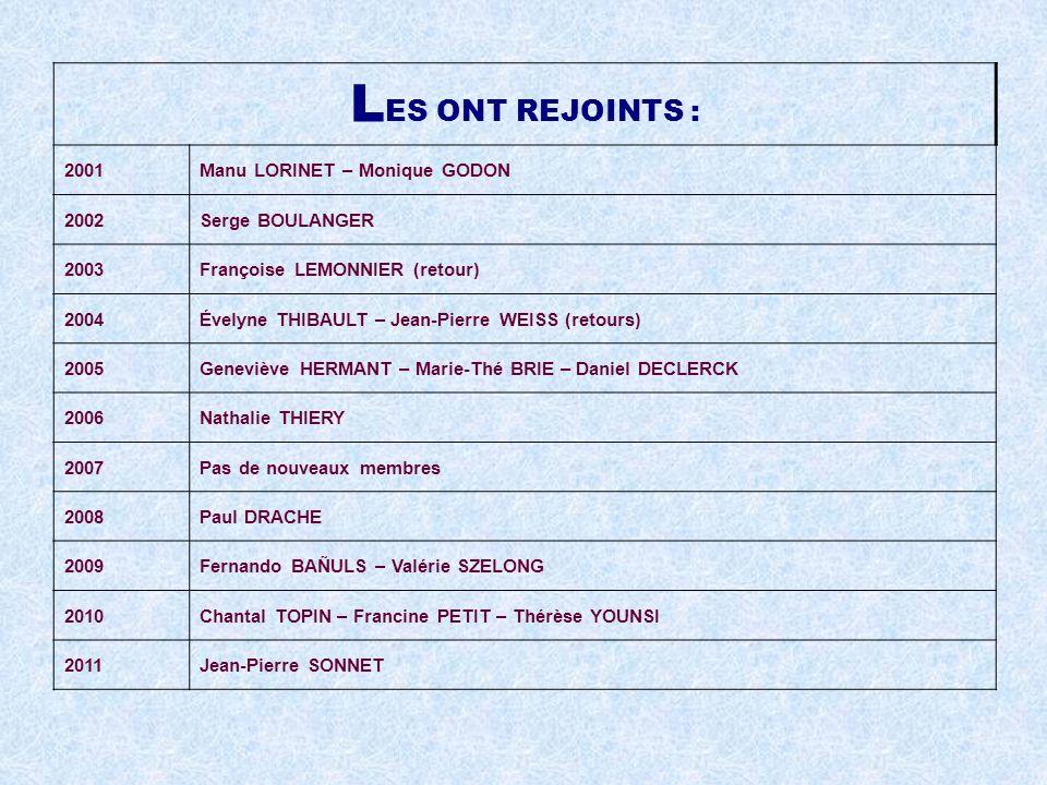 LES ONT REJOINTS : 2001 Manu LORINET – Monique GODON 2002