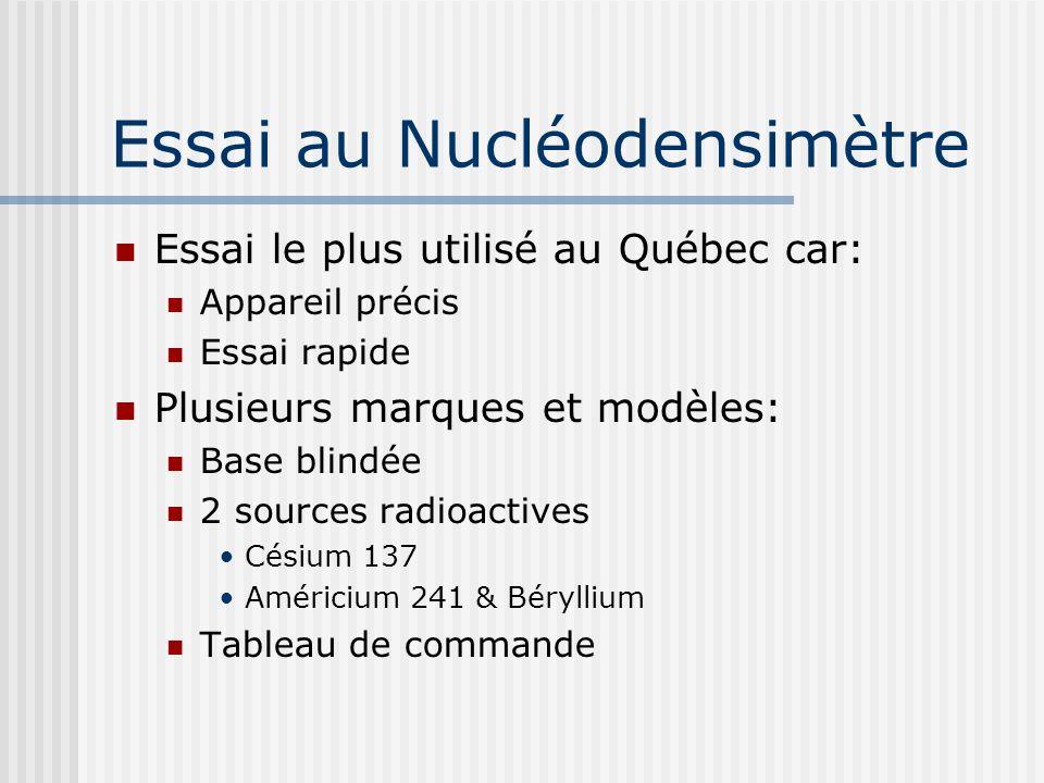 Essai au Nucléodensimètre