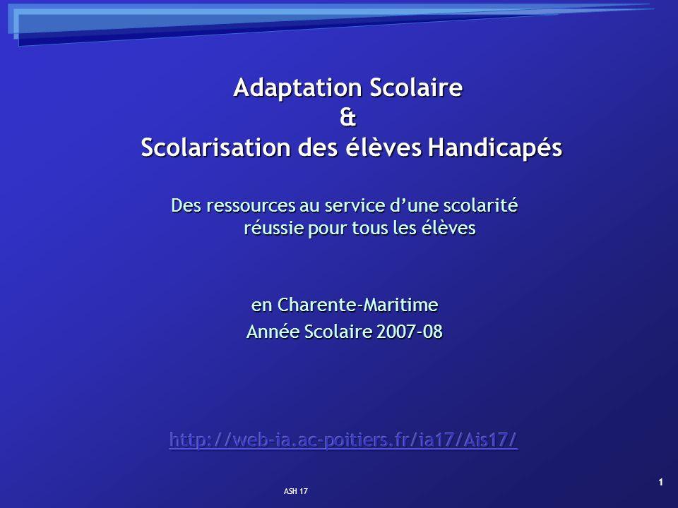 Adaptation Scolaire & Scolarisation des élèves Handicapés