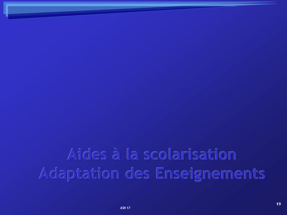 Aides à la scolarisation Adaptation des Enseignements