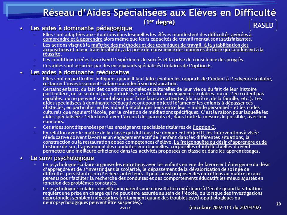 Réseau d'Aides Spécialisées aux Elèves en Difficulté (1er degré)