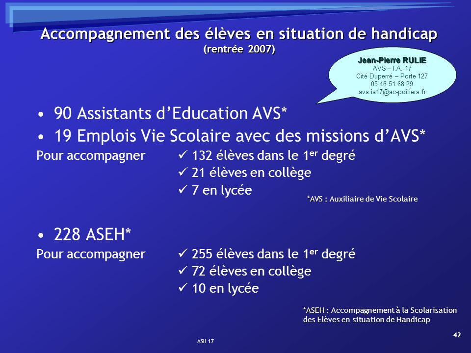 Accompagnement des élèves en situation de handicap (rentrée 2007)