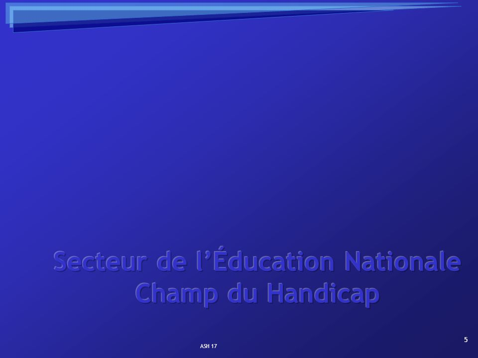 Secteur de l'Éducation Nationale Champ du Handicap