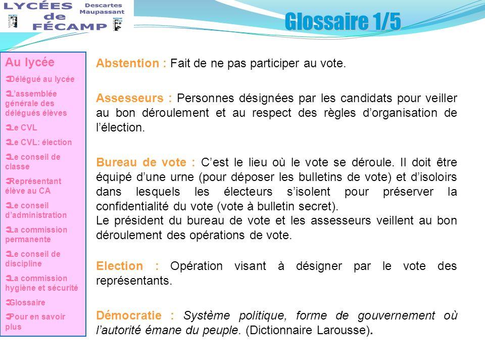Glossaire 1/5 Au lycée Abstention : Fait de ne pas participer au vote.