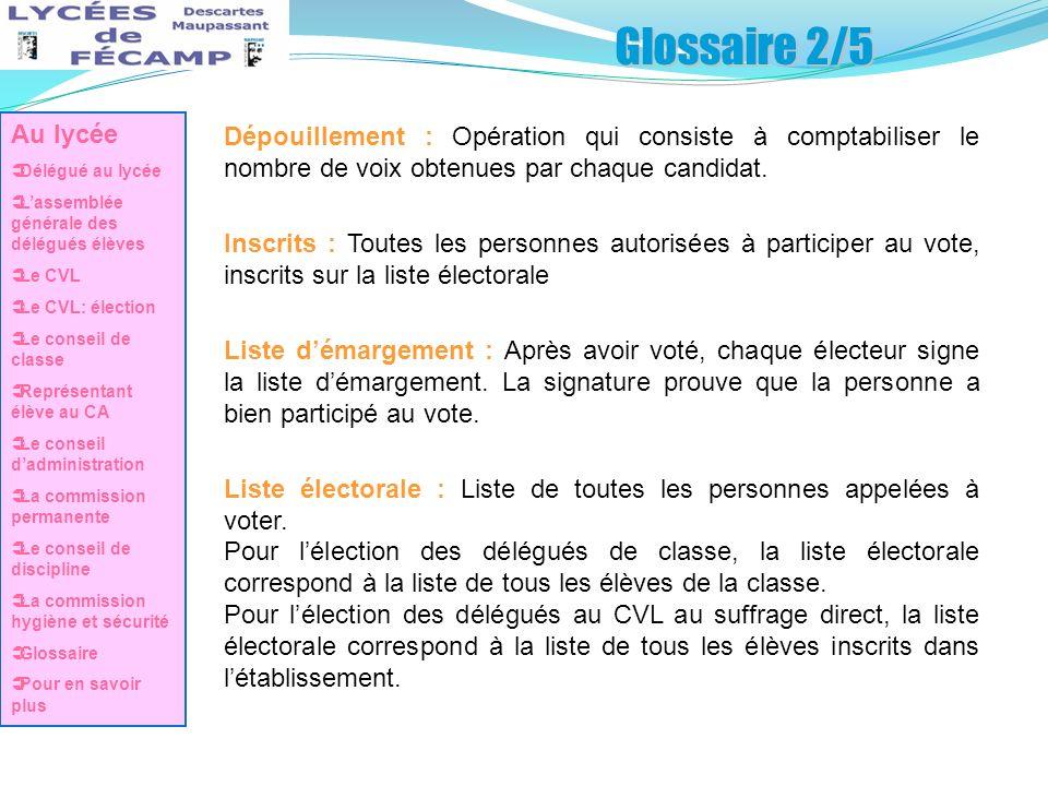 Glossaire 2/5 Au lycée. Délégué au lycée. L'assemblée générale des délégués élèves. Le CVL. Le CVL: élection.