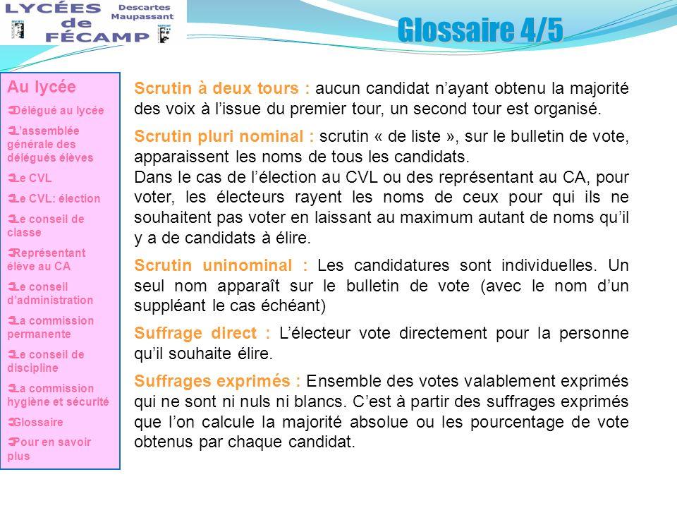 Glossaire 4/5 Au lycée. Délégué au lycée. L'assemblée générale des délégués élèves. Le CVL. Le CVL: élection.
