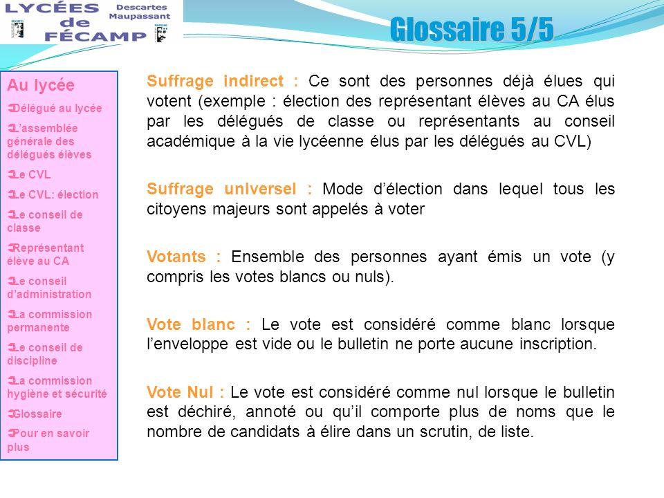Glossaire 5/5 Au lycée. Délégué au lycée. L'assemblée générale des délégués élèves. Le CVL. Le CVL: élection.