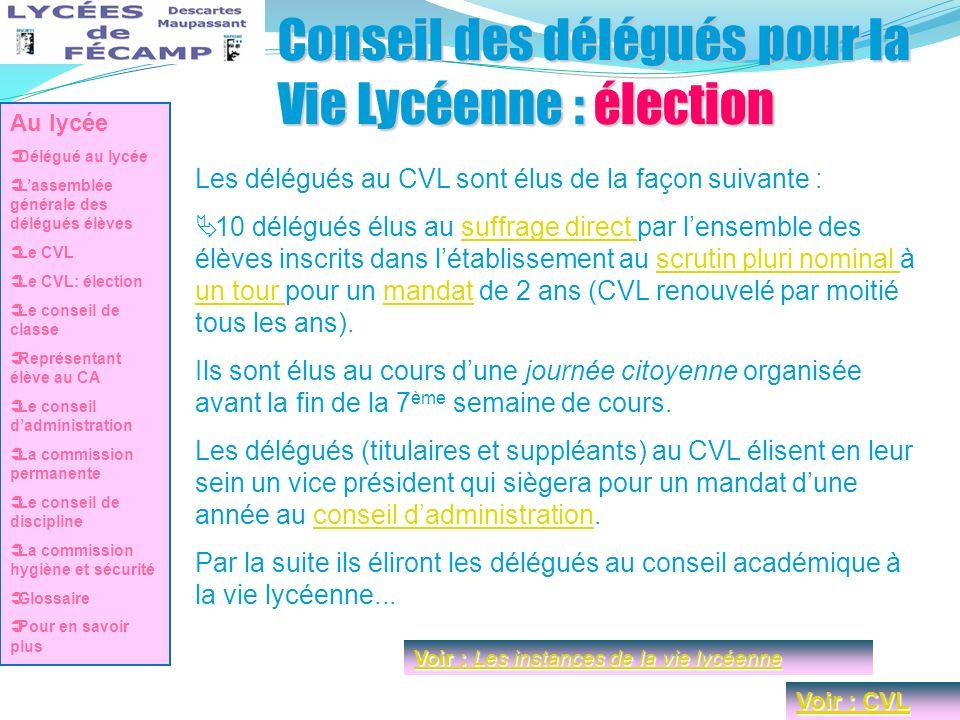 Conseil des délégués pour la Vie Lycéenne : élection