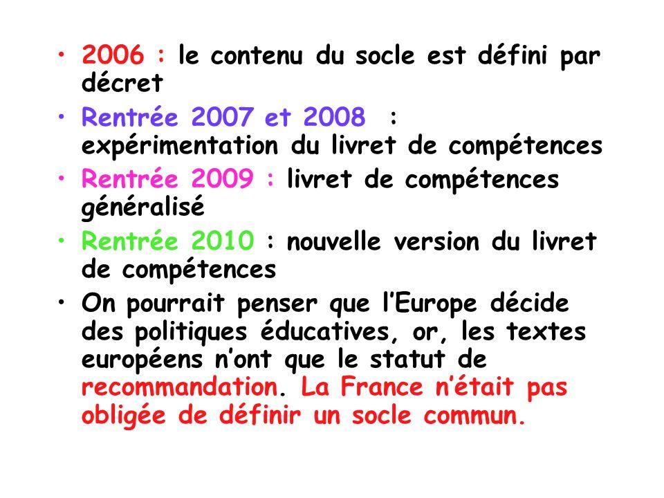 2006 : le contenu du socle est défini par décret
