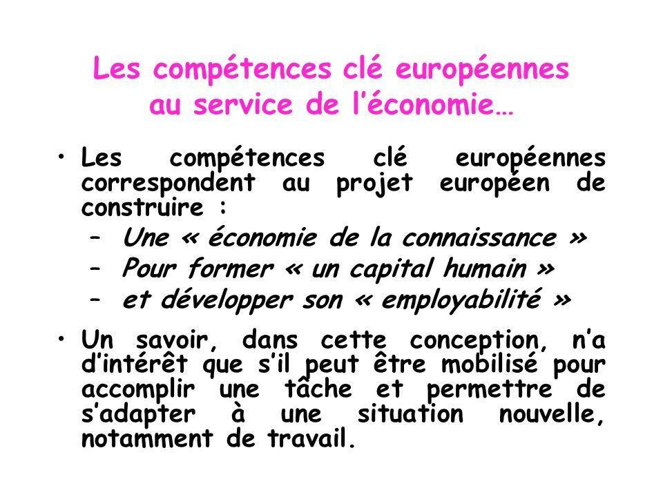 Les compétences clé européennes au service de l'économie…