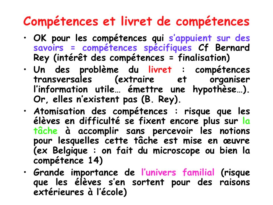 Compétences et livret de compétences
