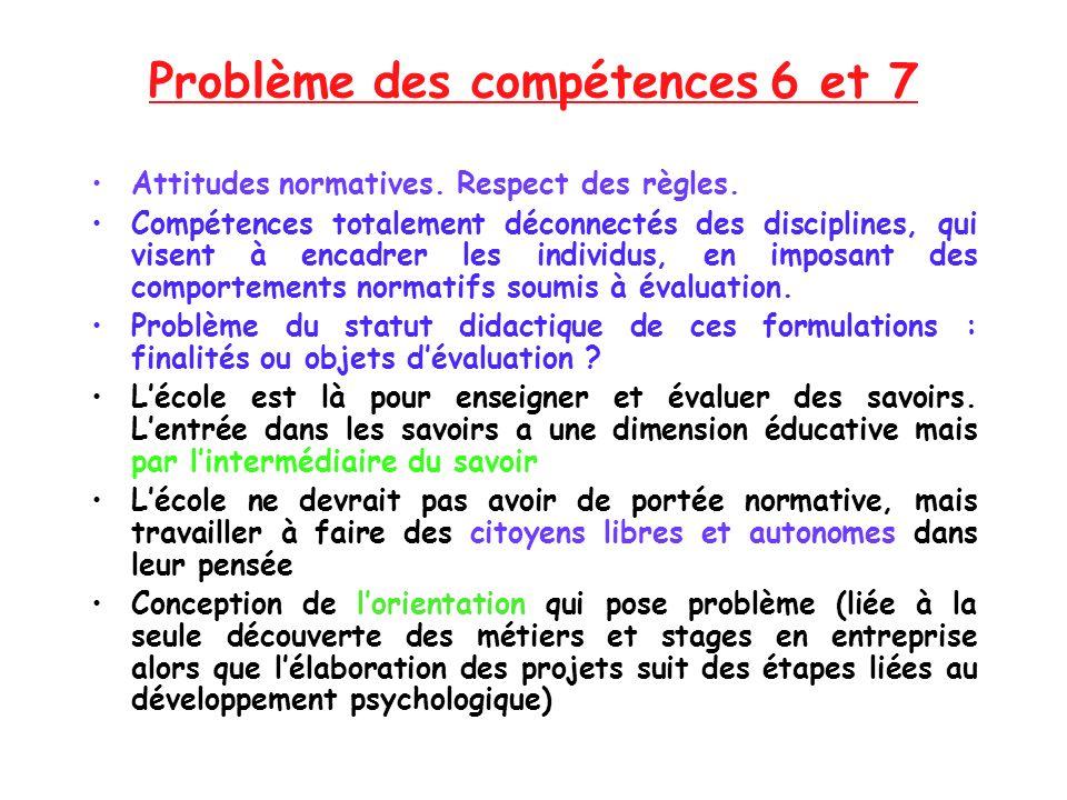 Problème des compétences 6 et 7