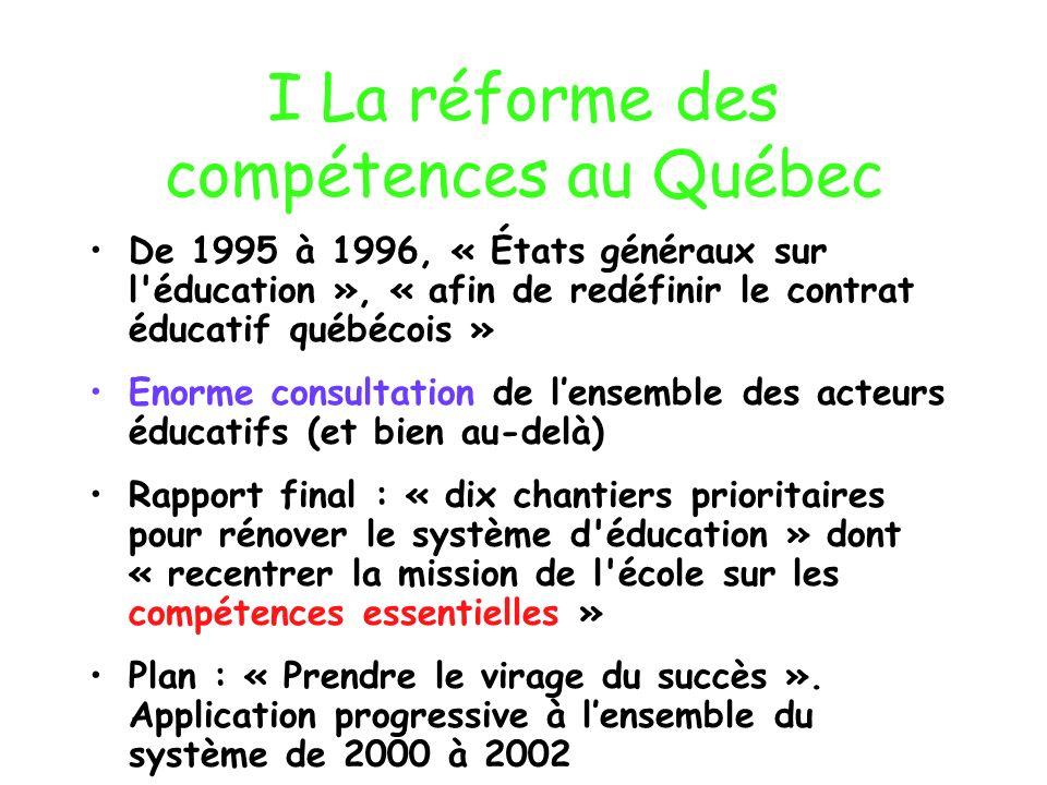 I La réforme des compétences au Québec