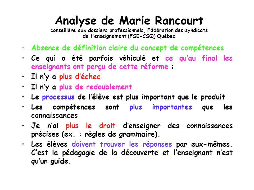 Analyse de Marie Rancourt conseillère aux dossiers professionnels, Fédération des syndicats de l enseignement (FSE-CSQ) Québec