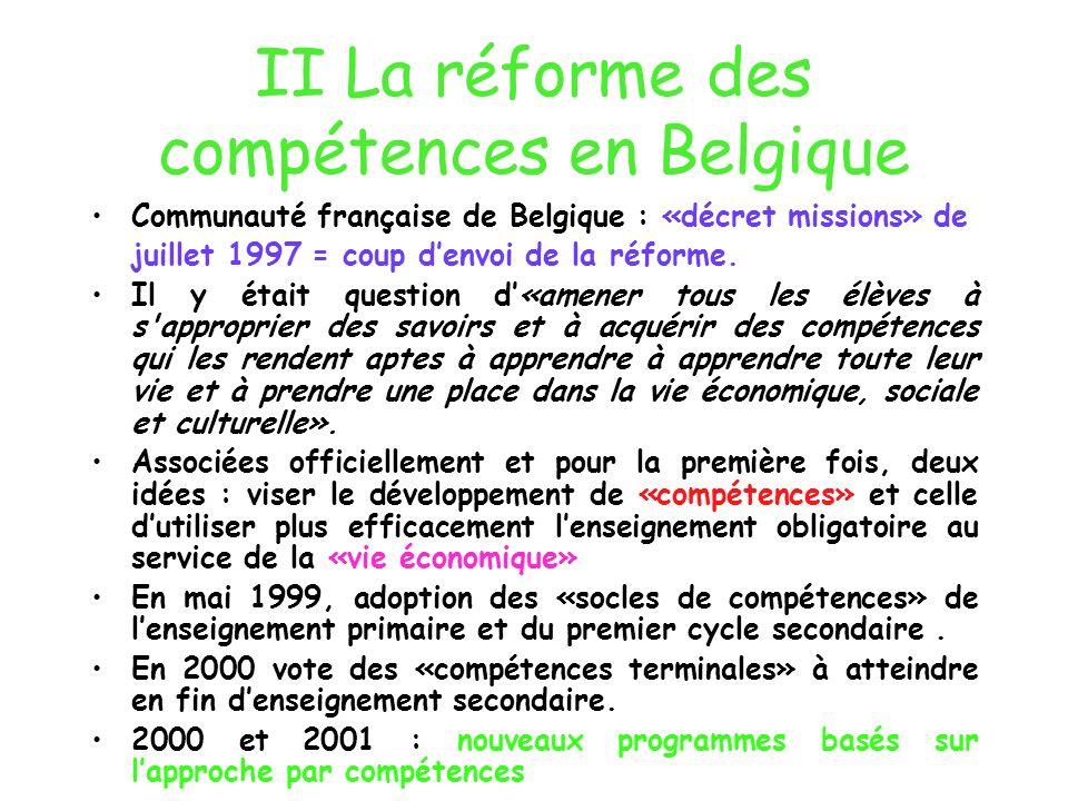 II La réforme des compétences en Belgique