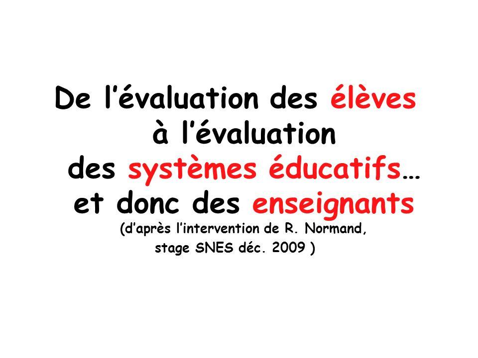 De l'évaluation des élèves à l'évaluation des systèmes éducatifs… et donc des enseignants (d'après l'intervention de R. Normand,