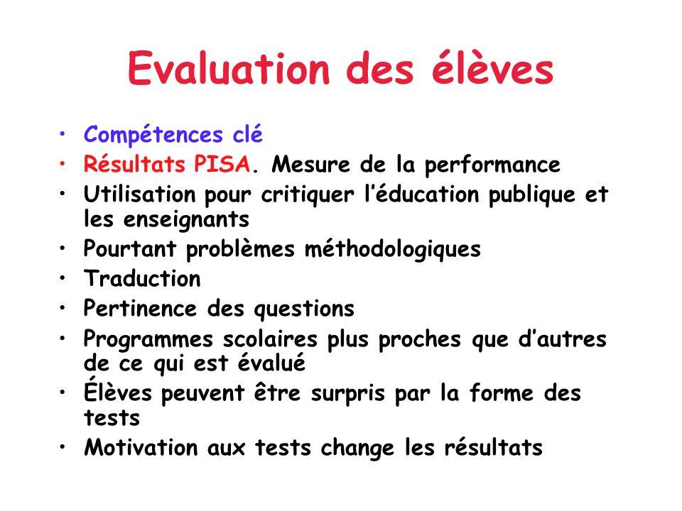 Evaluation des élèves Compétences clé