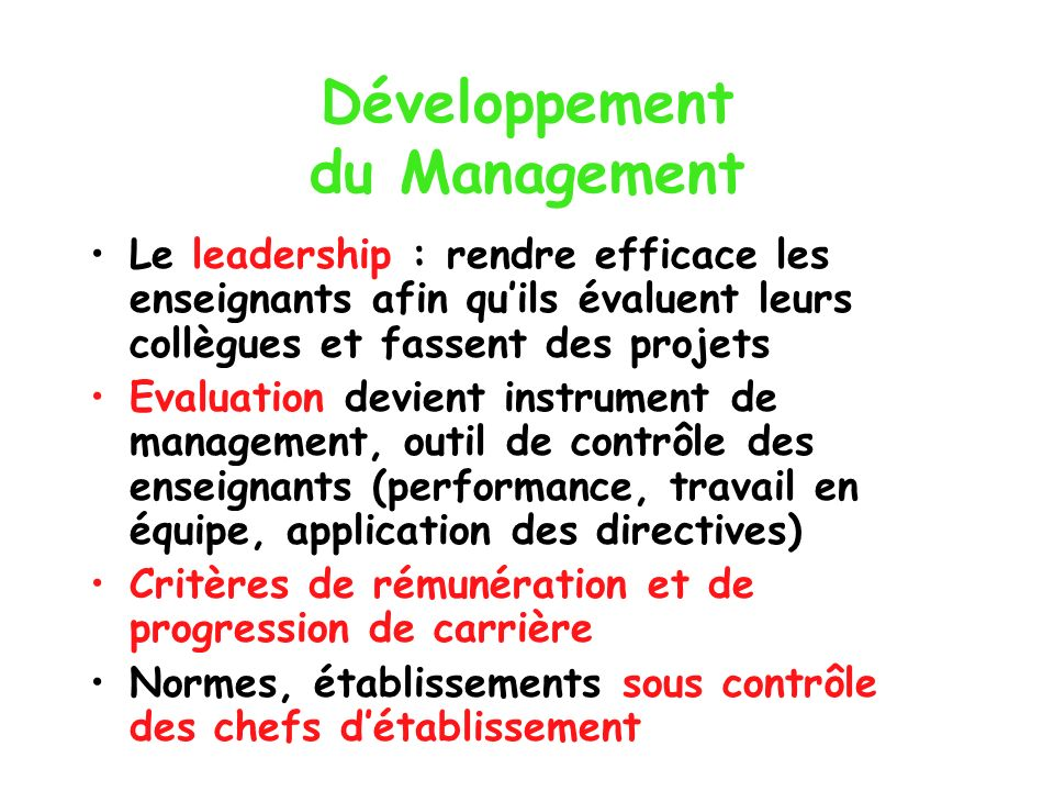 Développement du Management