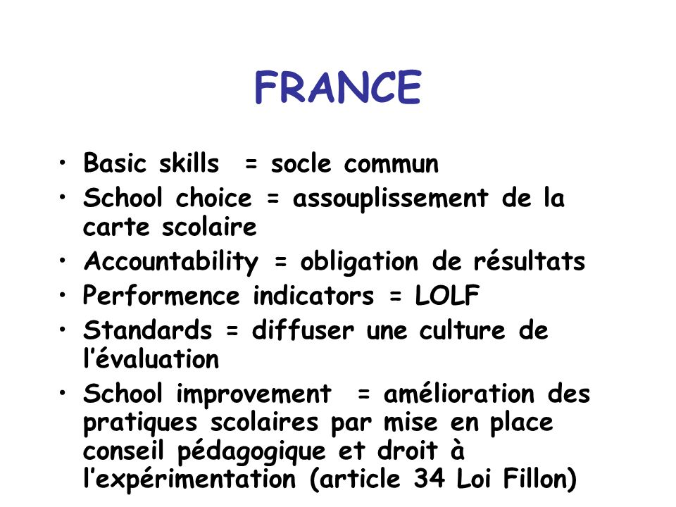 FRANCE Basic skills = socle commun