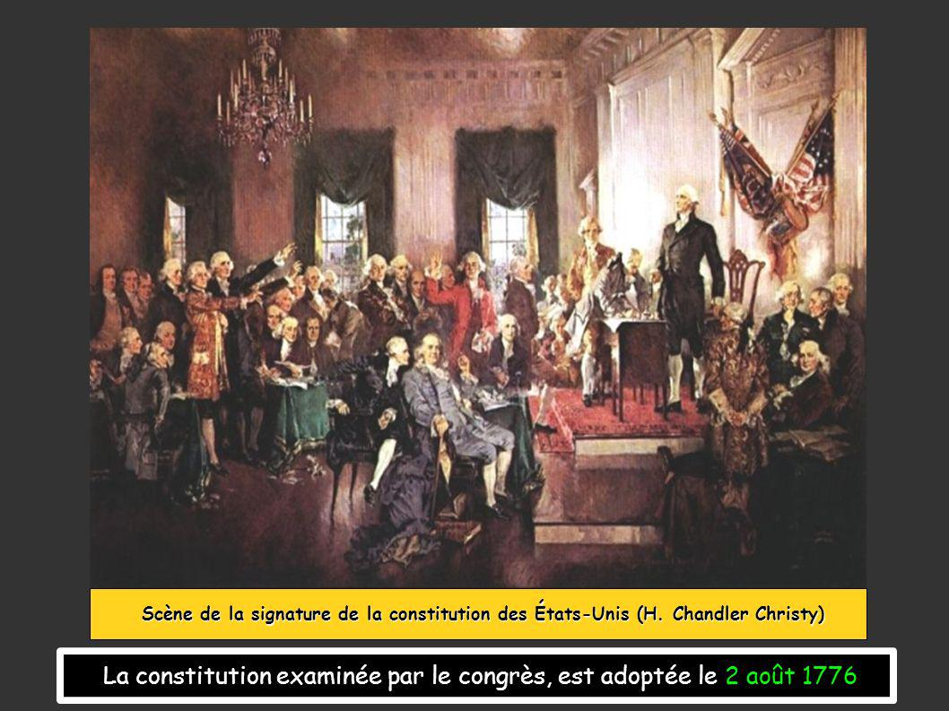La constitution examinée par le congrès, est adoptée le 2 août 1776