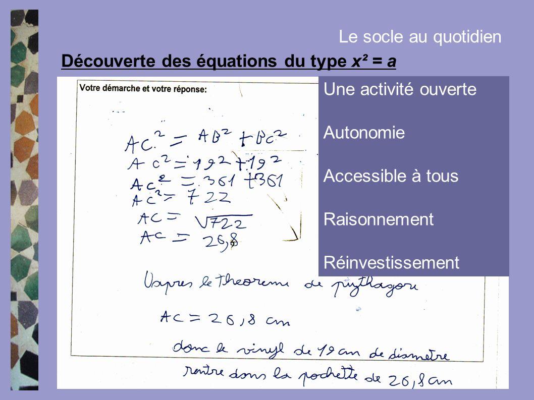Découverte des équations du type x² = a