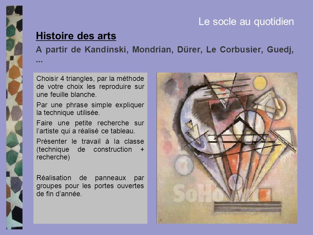 A partir de Kandinski, Mondrian, Dürer, Le Corbusier, Guedj, ...