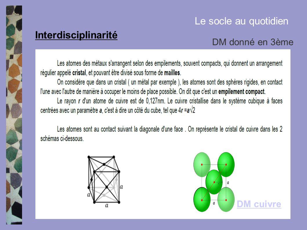 Le socle au quotidien Interdisciplinarité DM donné en 3ème DM cuivre