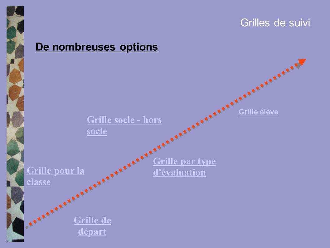 Grilles de suivi De nombreuses options Grille socle - hors socle