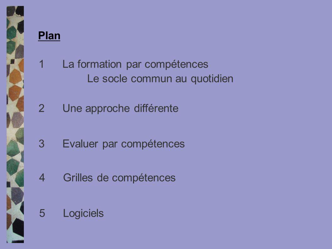Plan 1 La formation par compétences. Le socle commun au quotidien. 2 Une approche différente. 3 Evaluer par compétences.