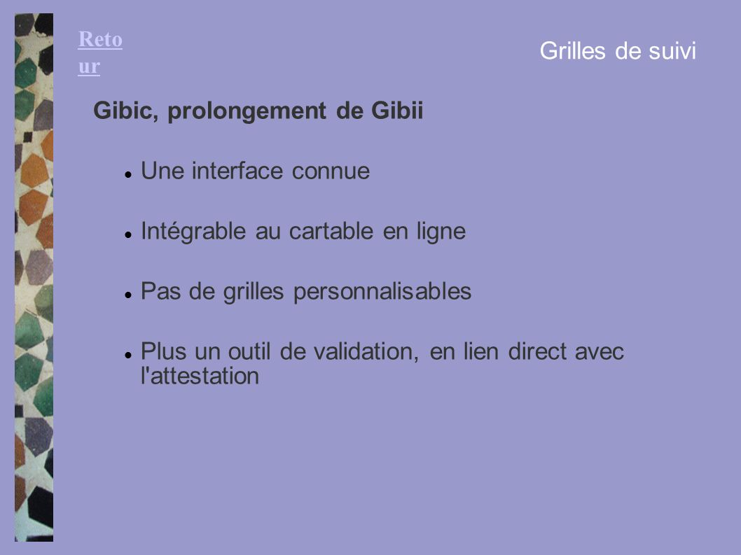 Gibic, prolongement de Gibii Une interface connue