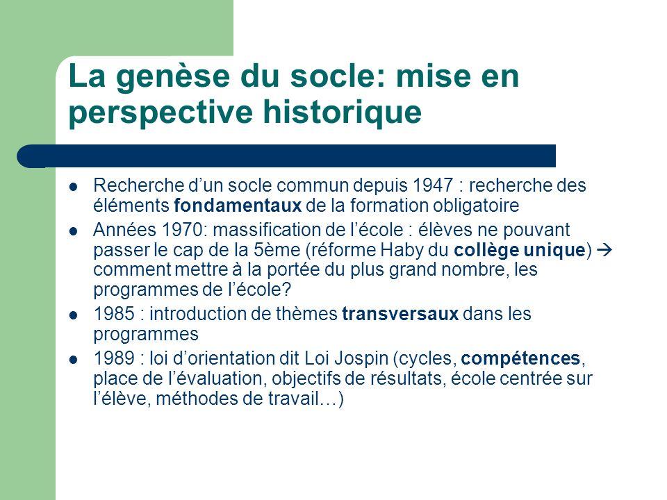 La genèse du socle: mise en perspective historique