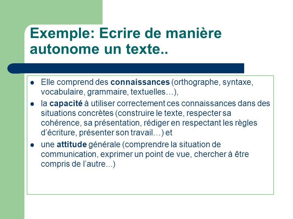 Exemple: Ecrire de manière autonome un texte..