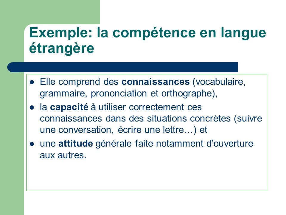 Exemple: la compétence en langue étrangère