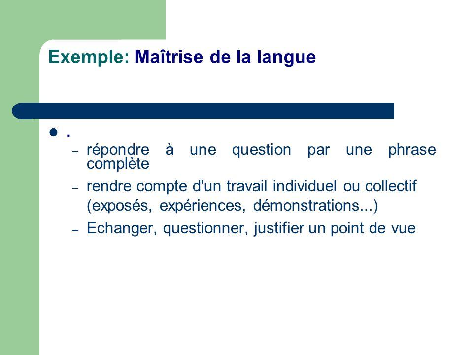 Exemple: Maîtrise de la langue