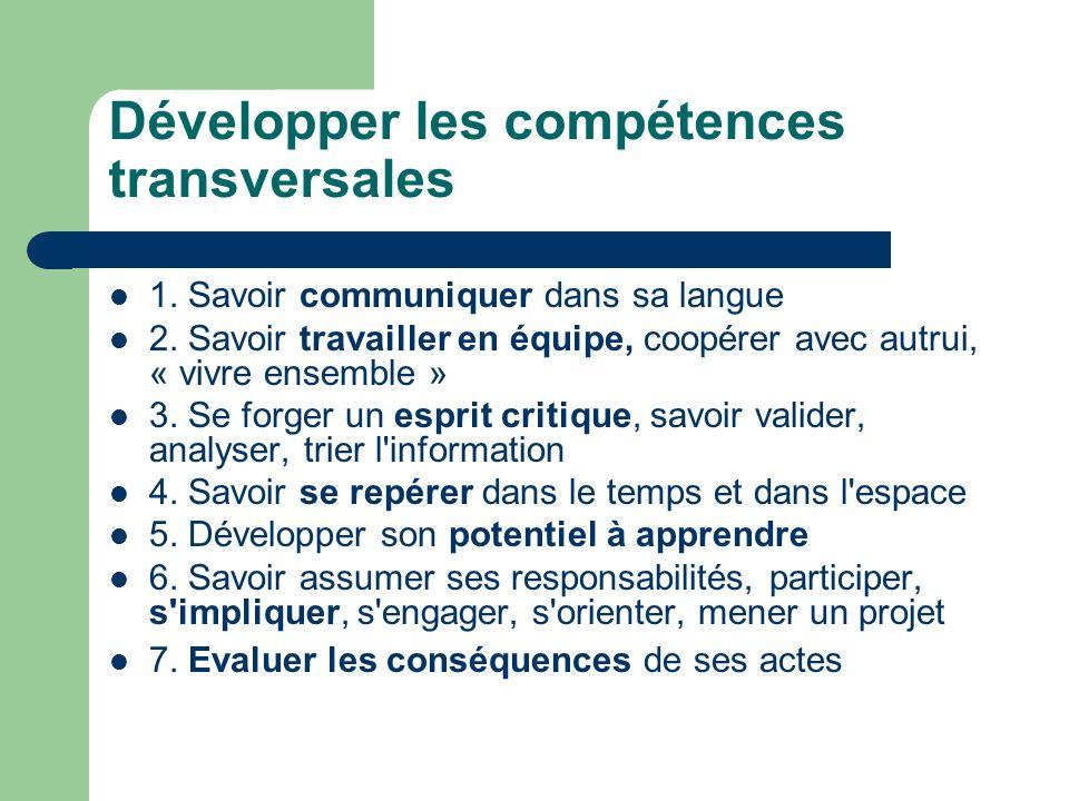Développer les compétences transversales