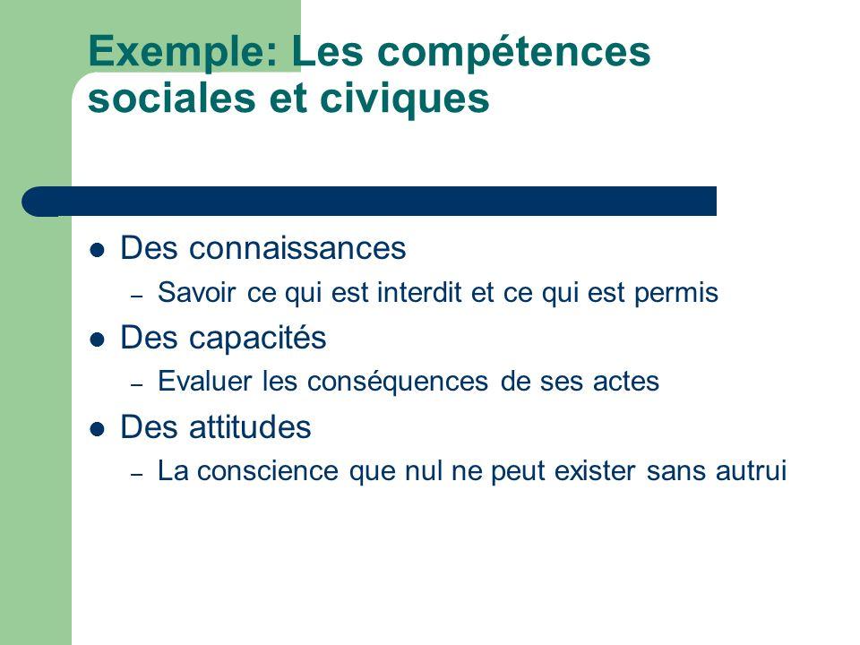Exemple: Les compétences sociales et civiques
