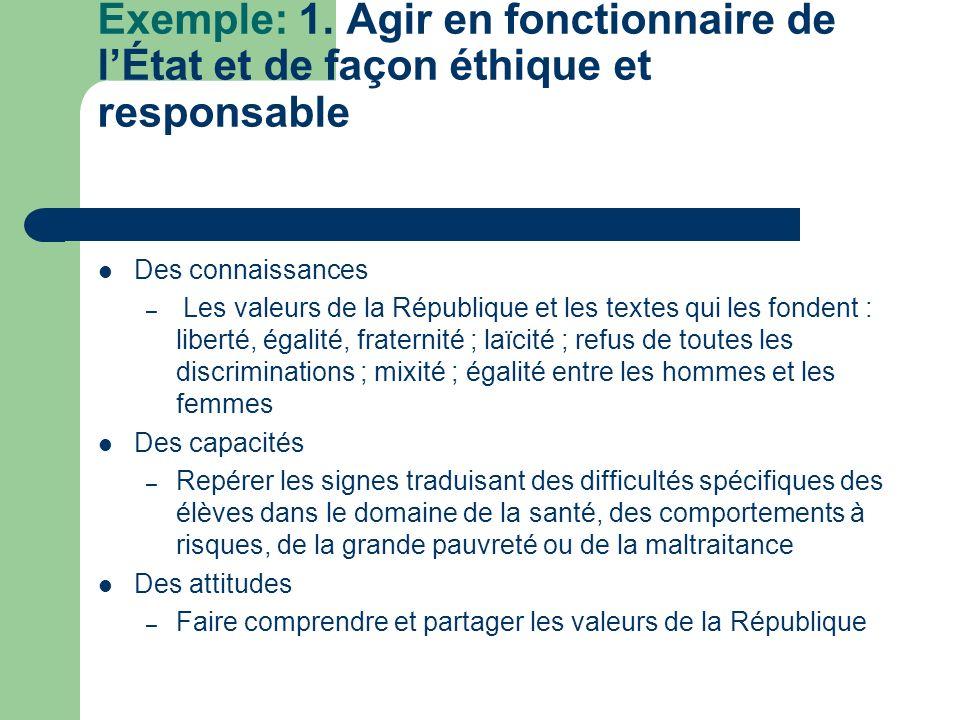 Exemple: 1. Agir en fonctionnaire de l'État et de façon éthique et responsable