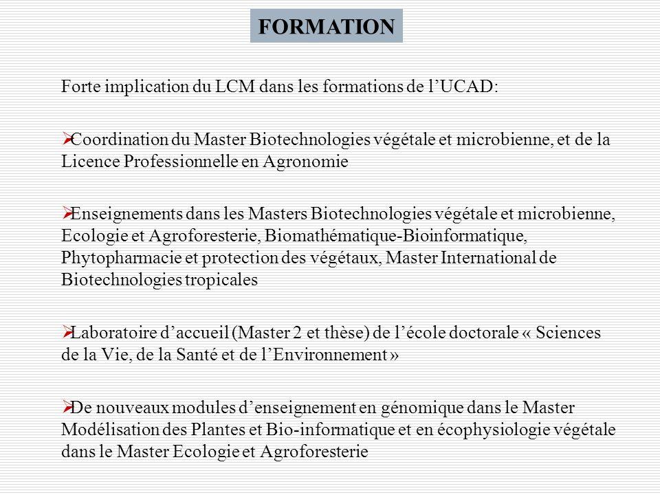 FORMATION Forte implication du LCM dans les formations de l'UCAD: