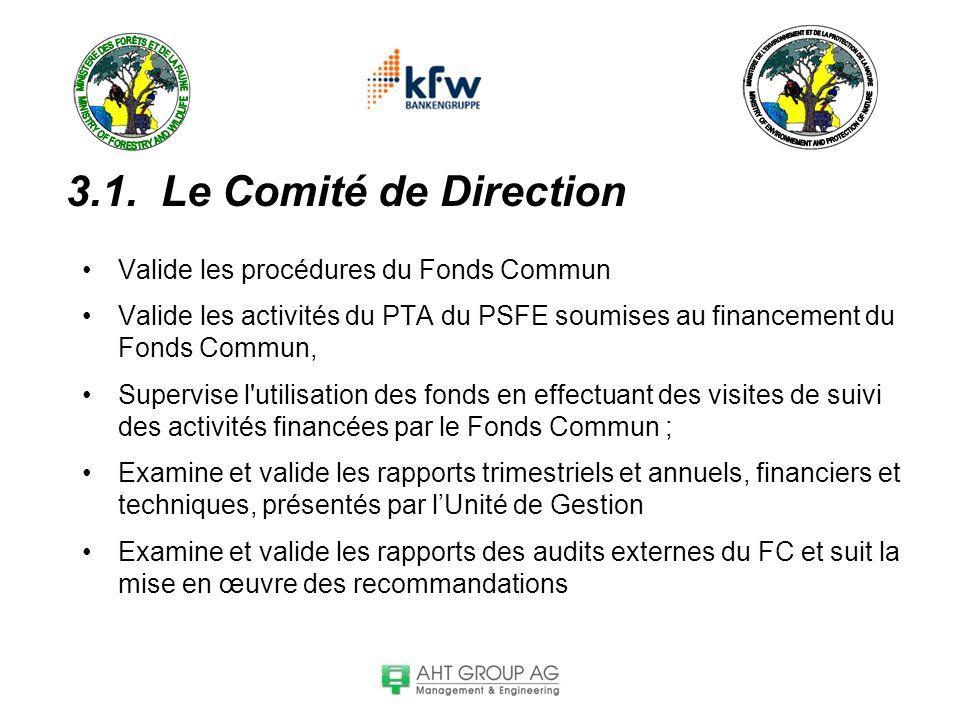3.1. Le Comité de Direction Valide les procédures du Fonds Commun