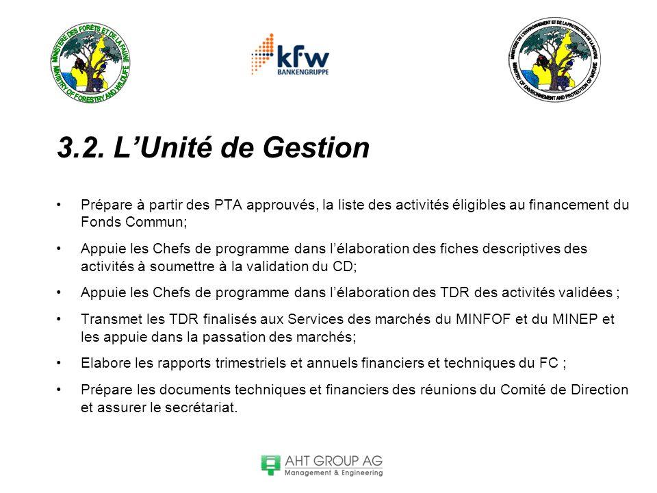 3.2. L'Unité de Gestion Prépare à partir des PTA approuvés, la liste des activités éligibles au financement du Fonds Commun;