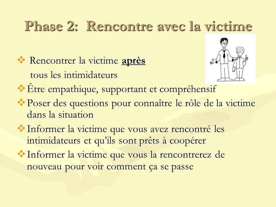 Phase 2: Rencontre avec la victime