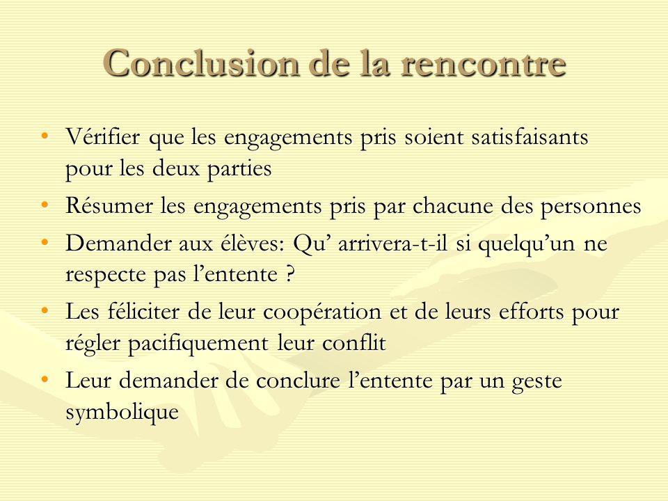 Conclusion de la rencontre