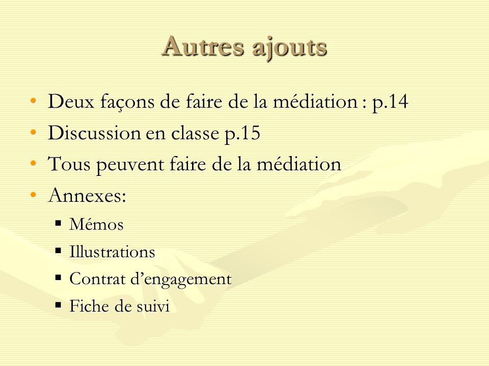 Autres ajouts Deux façons de faire de la médiation : p.14
