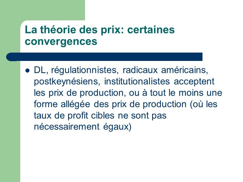 La théorie des prix: certaines convergences